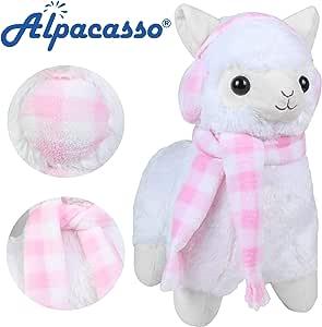 "17/"" White Alpaca Plush Llama Toy Stuffed Animal Waitress Alpacasso Kid Doll Gift"