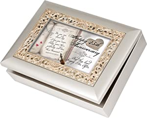 Cottage Garden Happy 25th Anniversary Silvertone Gold Inlay Jewelry Music Box Plays You Light Up My Life