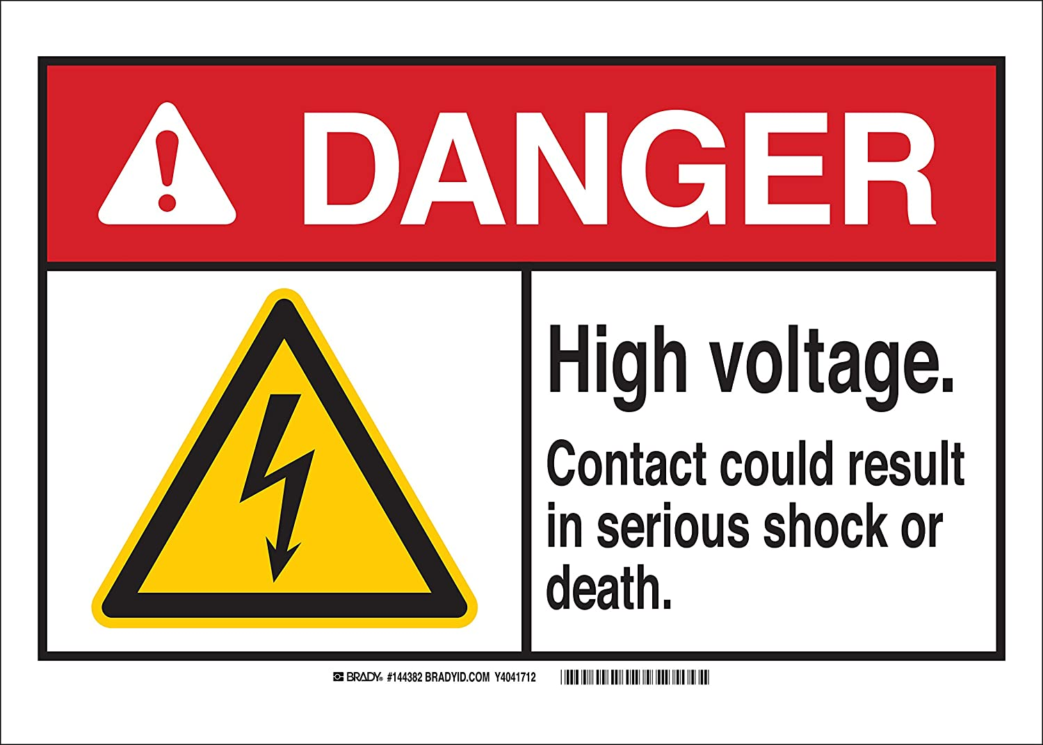 7 H x 10 W Sign Brady 144387 AluminumDanger High Voltage Contact Could Result in serious Shock or Death Black//Red//Yellow//White