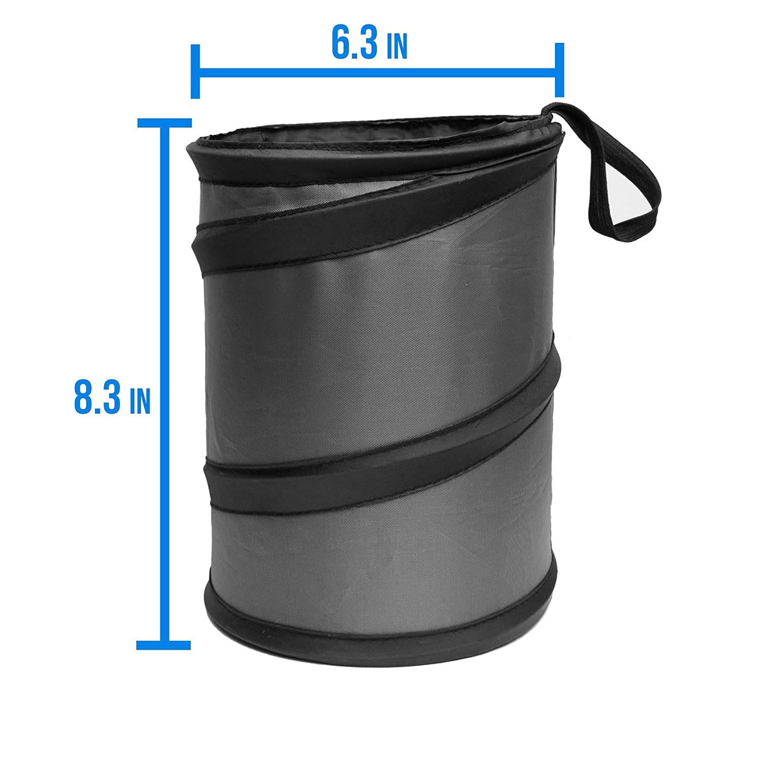 FH Group FH1121BLACK Black Car Garbage Trash Can Collapsible and Compact Size Large