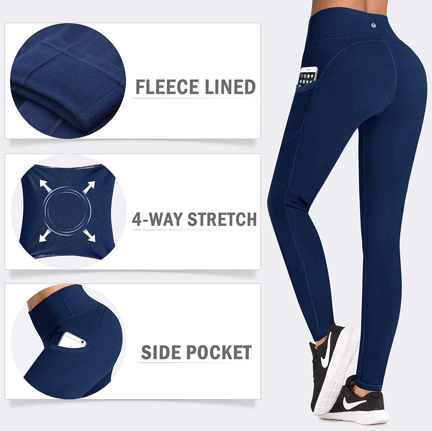 High Waisted Thermal Leggings with Pockets IUGA Fleece Lined Yoga Pants with Pockets for Women