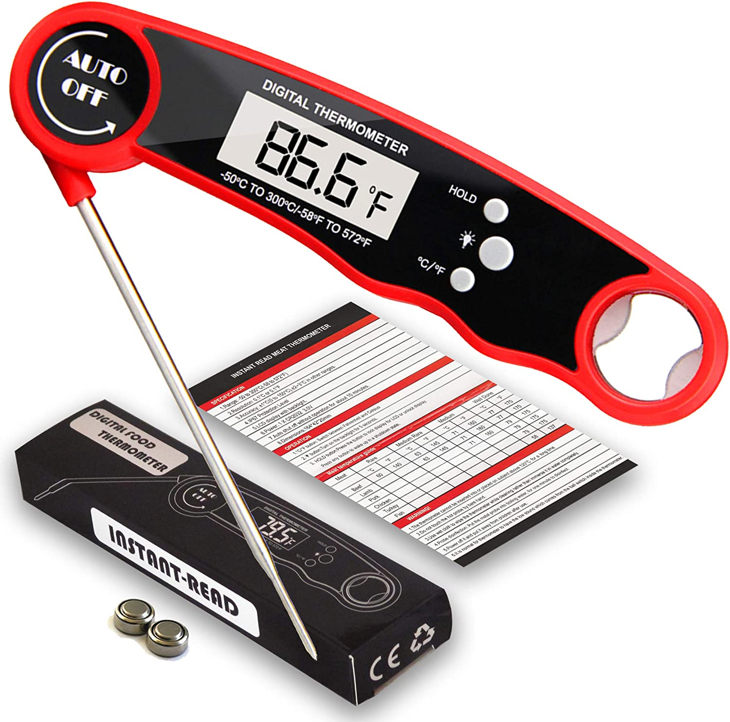 Instant Read Digital Meat Food Thermometer Waterproof & Magnetic | Bottle Opener & Stainless Steel Probe | Perfect for BBQ Outdoor Cooking Smoker & Grill | Candy Oven Baking Deep Fry by Kitchen Crafty