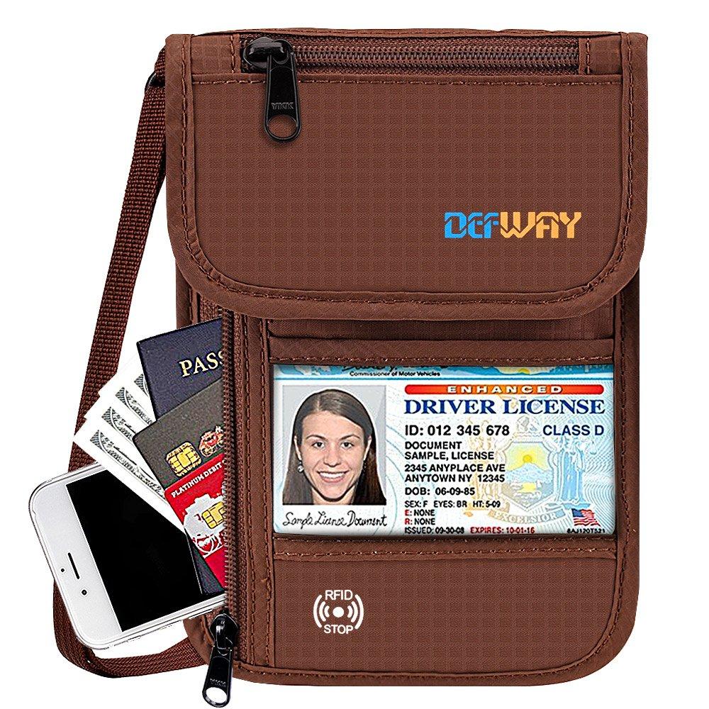 Defway Travel Wallet RFID Blocking Hidden Money Pouch & Neck Passport Holder C0005BLA