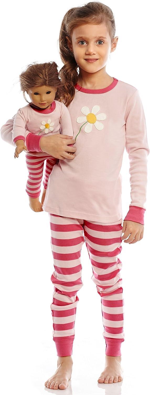 Toddler-14 Years Leveret Kids /& Toddler Pajamas Matching Doll /& Girls Pajamas 100/% Cotton Pjs Set Fits American Girl