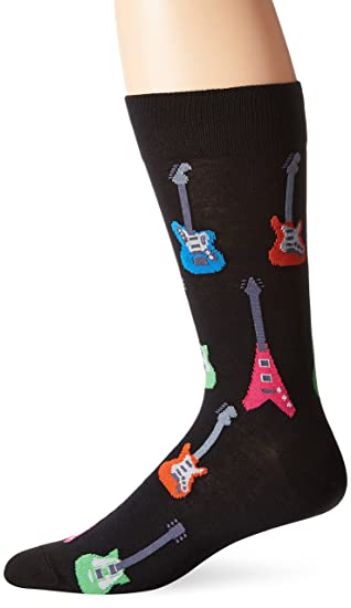 moderate cost newest selection prevalent Hot Sox Men's Electric Guitars Crew Sock, Black, Shoe: 10-13 ...