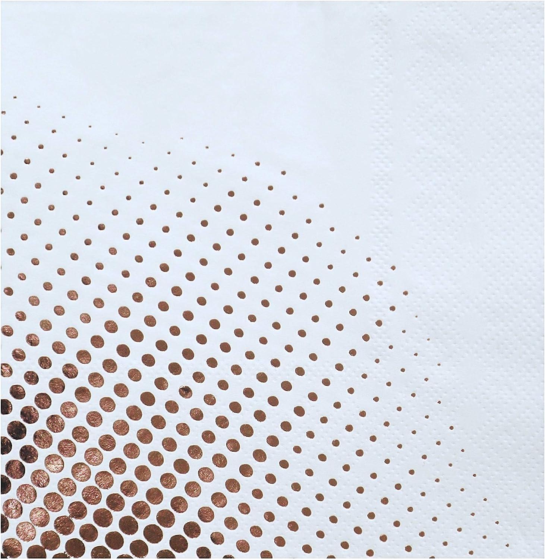 DesignReady Rose Gold Foil Polka Dot Cocktail Napkins (100-Pack) | 3-Ply, 5x5 Inches