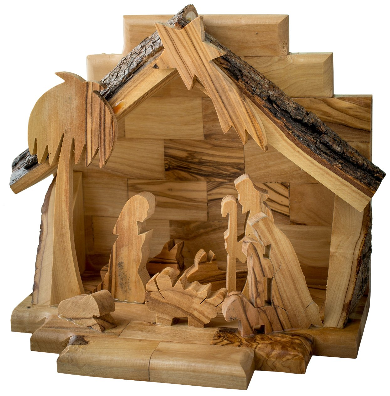 Earthwood Olive Wood Nativity Set with Silhouette Figures