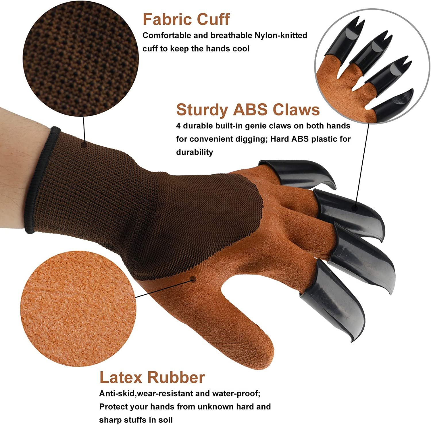 Garden Genie Gloves with Claws, Breathable Waterproof Garden Gloves for Digging and Planting, Breathable, Best Gift for Gardener Brown…