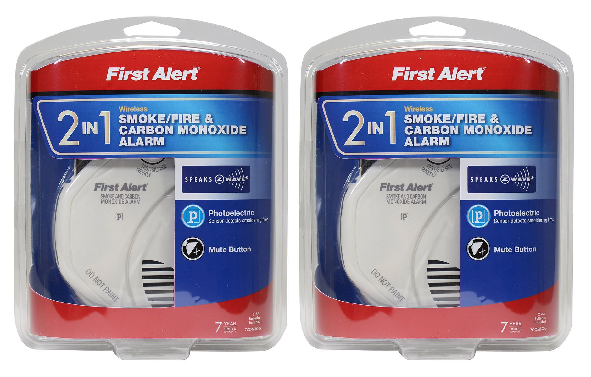 First Alert NBsDH 2-in-1 Z-Wave Smoke Detector & Carbon Monoxide Alarm 2 Pack