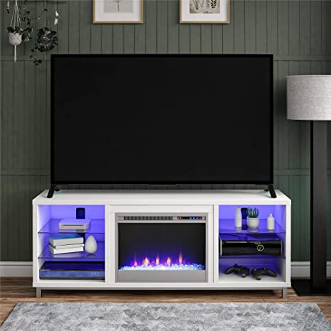 Amazon Com Lumina Fireplace Tv Stand For Tvs Up To 70 White Furniture Decor