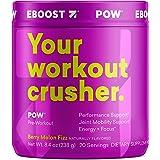 EBOOST POW Pre-Workout Powder, Berry Melon Fizz Flavor, 20 Servings Tub