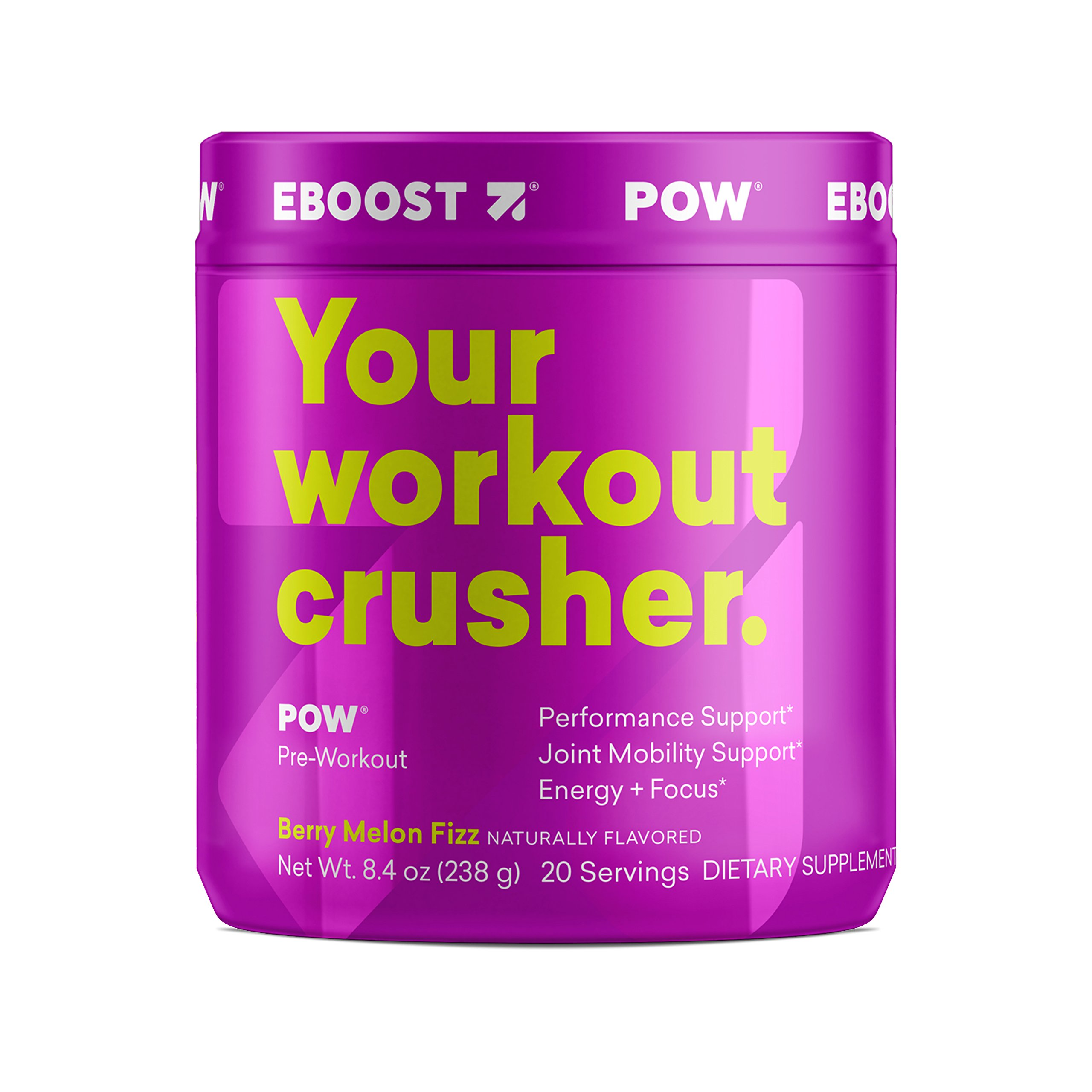 EBOOST POW Natural Pre-Workout Powder | Maximize Workouts & Recover Faster Smoother- Berry Melon Fizz Flavor (20 Servingsper Tub)