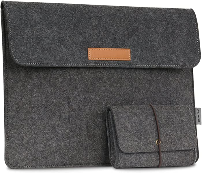 "MoKo 13.5 Inch Laptop Sleeve Bag Fits Surface Laptop 3 13.5""/2/1/Surface Book 3 13.5""/Surface Book 2 13.5, Protective Ultrabook Carrying Case Cover, with Small Felt Bag & Two Back Pockets - Dark Gray"