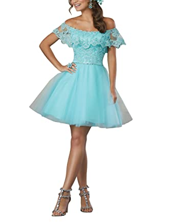 Fannydress Shoulder Short Prom Dresses Lace Sequins Beads Crystal Open Back Cheap Homecoming Dress 2018 at Amazon Womens Clothing store: