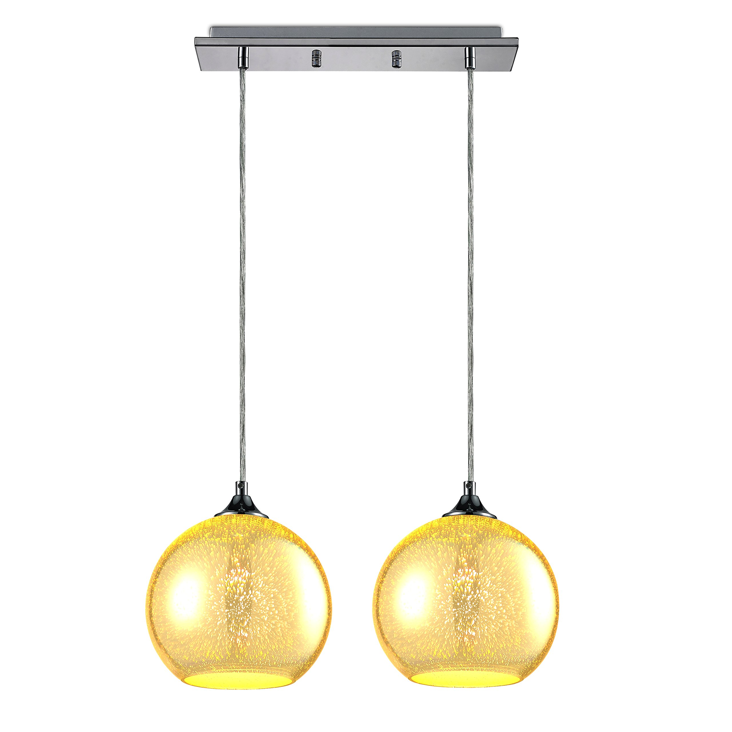 "SereneLife Home Lighting Fixture - Dual Pendant Hanging Lamp Ceiling Light with 2 7.87"" Circular Sphere Shaped Dome Globes, Sculpted Glass Accent, Adjustable Length and Screw-in Bulb Socket (SLLMP22) by SereneLife (Image #1)"