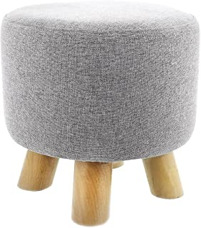 Ottoman Footstool - Round Pouf Ottoman Foot Rest With Removable Linen Fabric Cover Grey  sc 1 st  Amazon.com : ottoman foot stool - islam-shia.org