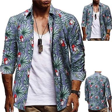 Camisa Lino Hawaiana Hombre Algodón de Lino Impresión de Hawaii ...