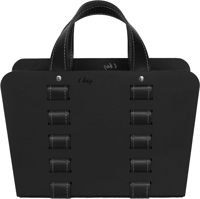 Gavemo, PRL238MC1414, L-BAG 02: Revistero en acero con insertos de cuero color Negro, para diarios y revistas, para cuarto de oficina, Made in Italy by Limac Design.