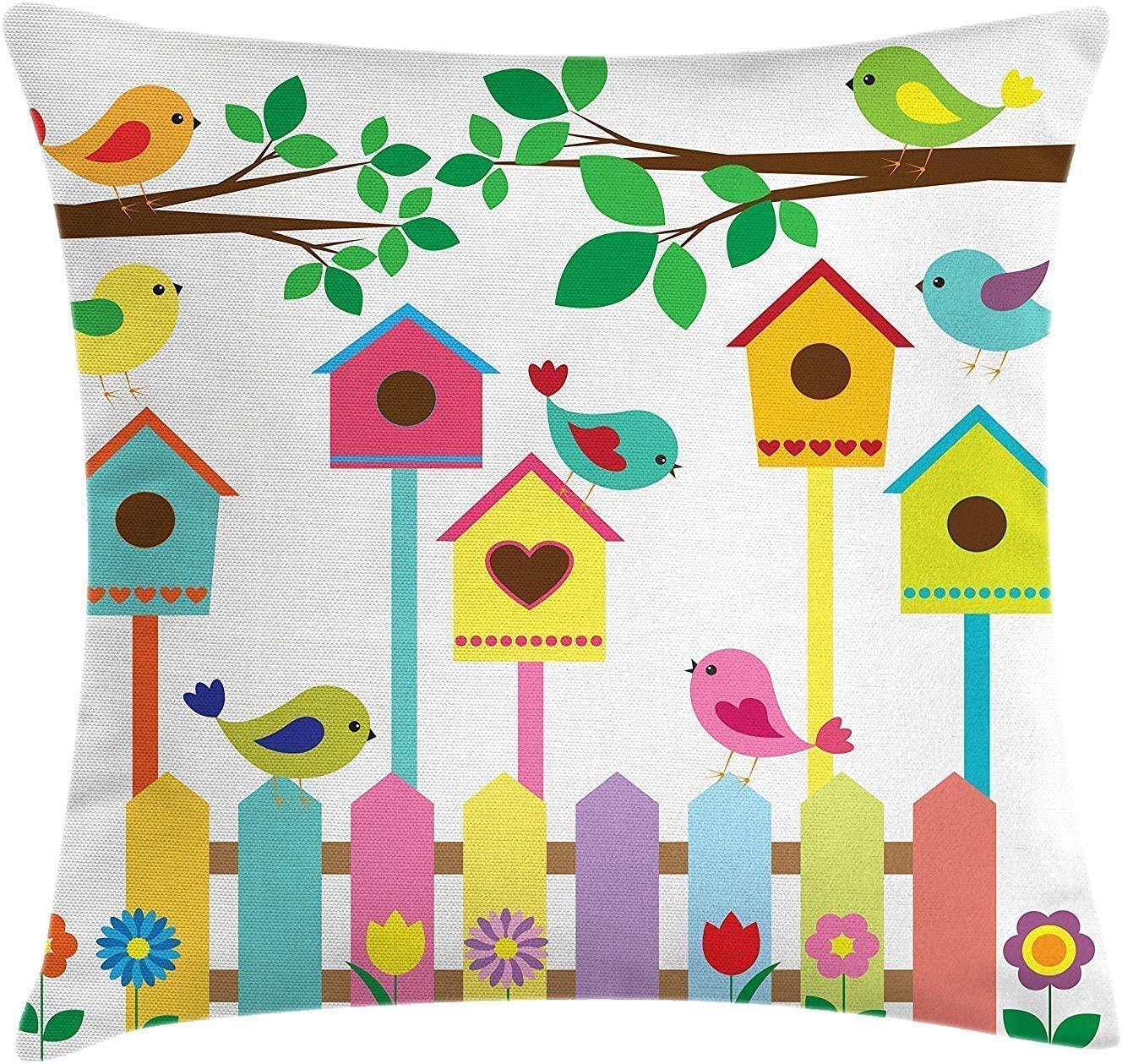 Funda de cojín de cojín de pájaros,colorido diseño de casas de pájaros y vallas para pájaros Boceto de estilo de dibujos animados para niños,funda de cojín de cojín cuadrado decorativo 45X45CM multico
