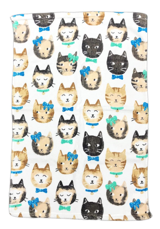 Cute Quirky Cat Faces 100% Cotton Novelty Bathroom Guest Towel (Bath Towel)