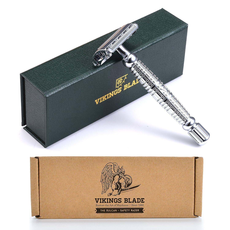VIKINGS BLADE The Vulcan Safety Razor + Swedish Platinum Super Blades + Carry Case