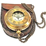 Artshai Victoria London design pocket watch with leather case and chain (Brown)