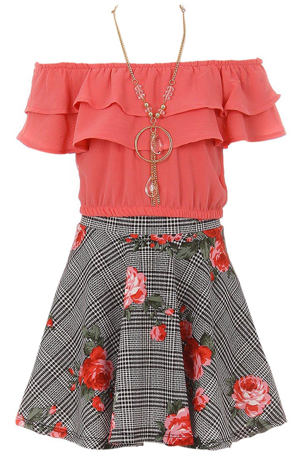 Little Girls Off Shoulder Tops Skirt Necklace 3 Pieces Party Summer Clothing Set Coral 6 (J21KS30S)
