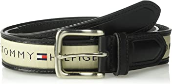 Tommy Hilfigher Mens Ribbon Inlay Belt - Ribbon Fabric Design with Single Prong Buckle