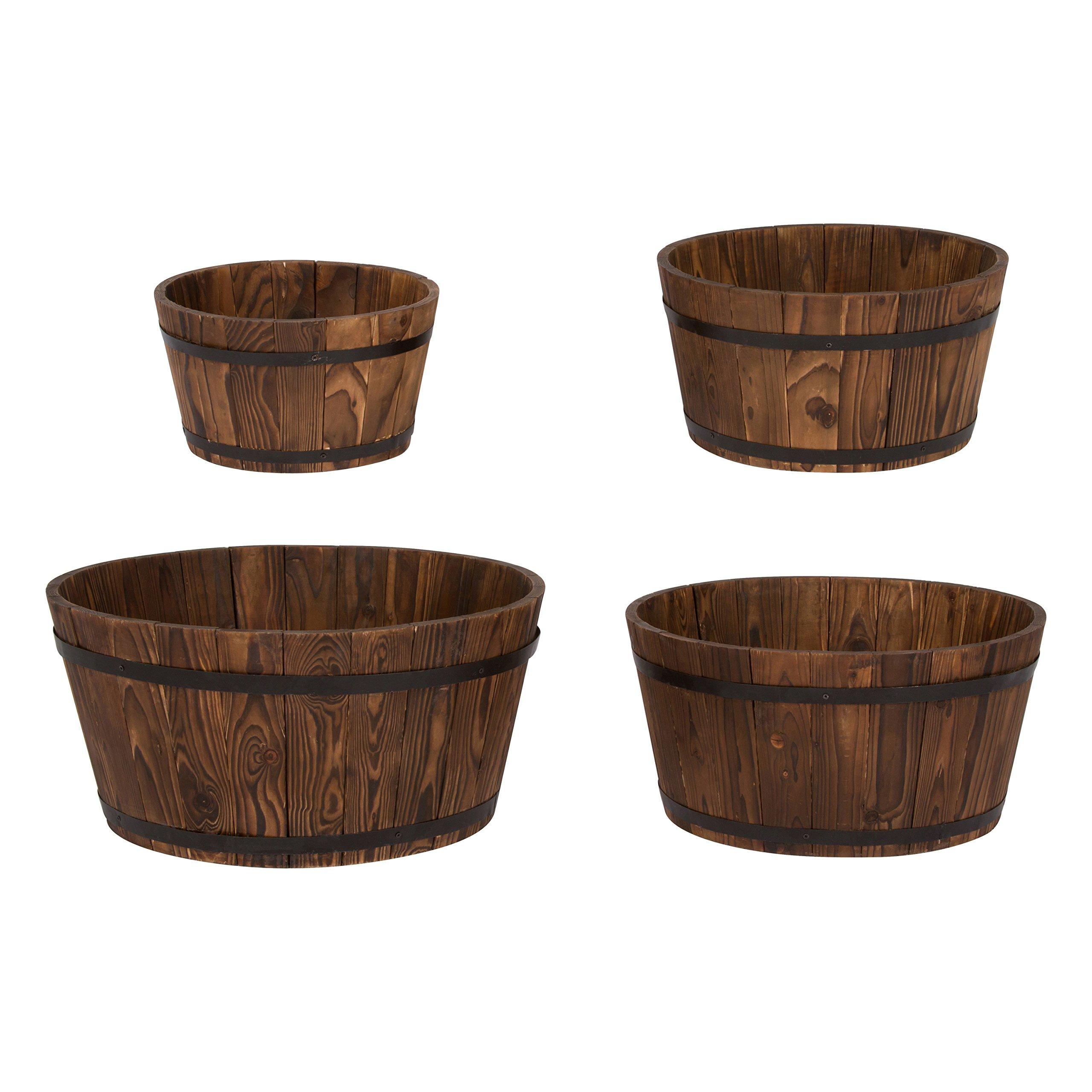 Shine Company Inc. 5010BT Cedar Round Barrel Set, Shallow, Burnt Brown