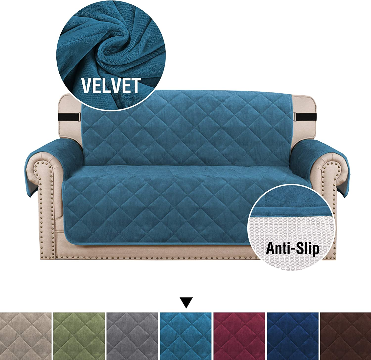 """H.VERSAILTEX Non-Slip Quilted Furniture Protector with 2 pcs Straps and Side Pockets, Seat Width Up to 54"""" Covers for Dogs, Soft Velvet Checked Pattern Loveseat Slipcover (Love Seat: Peacock Blue)"""