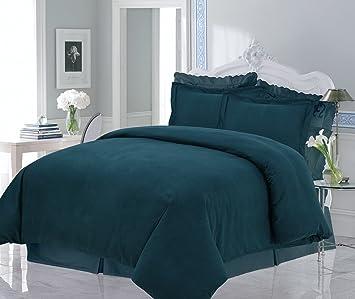tribeca living solid flannel heavy weight duvet cover set king teal - Tribeca Bedroom Set