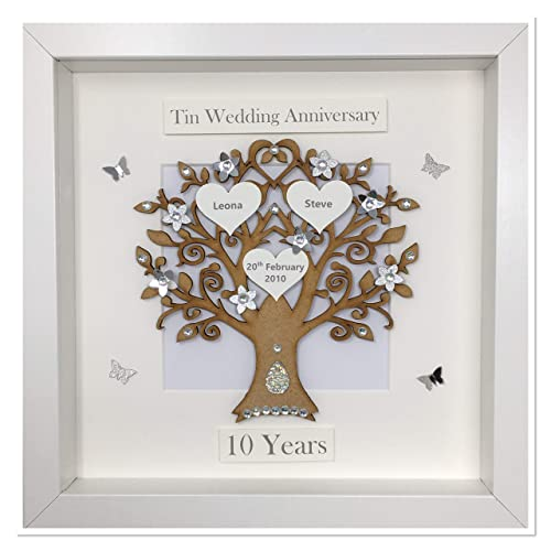 10 Years 10th Tin Wedding Anniversary Family Tree Picture Frame Gift Personalised Classic Amazon Co Uk Handmade