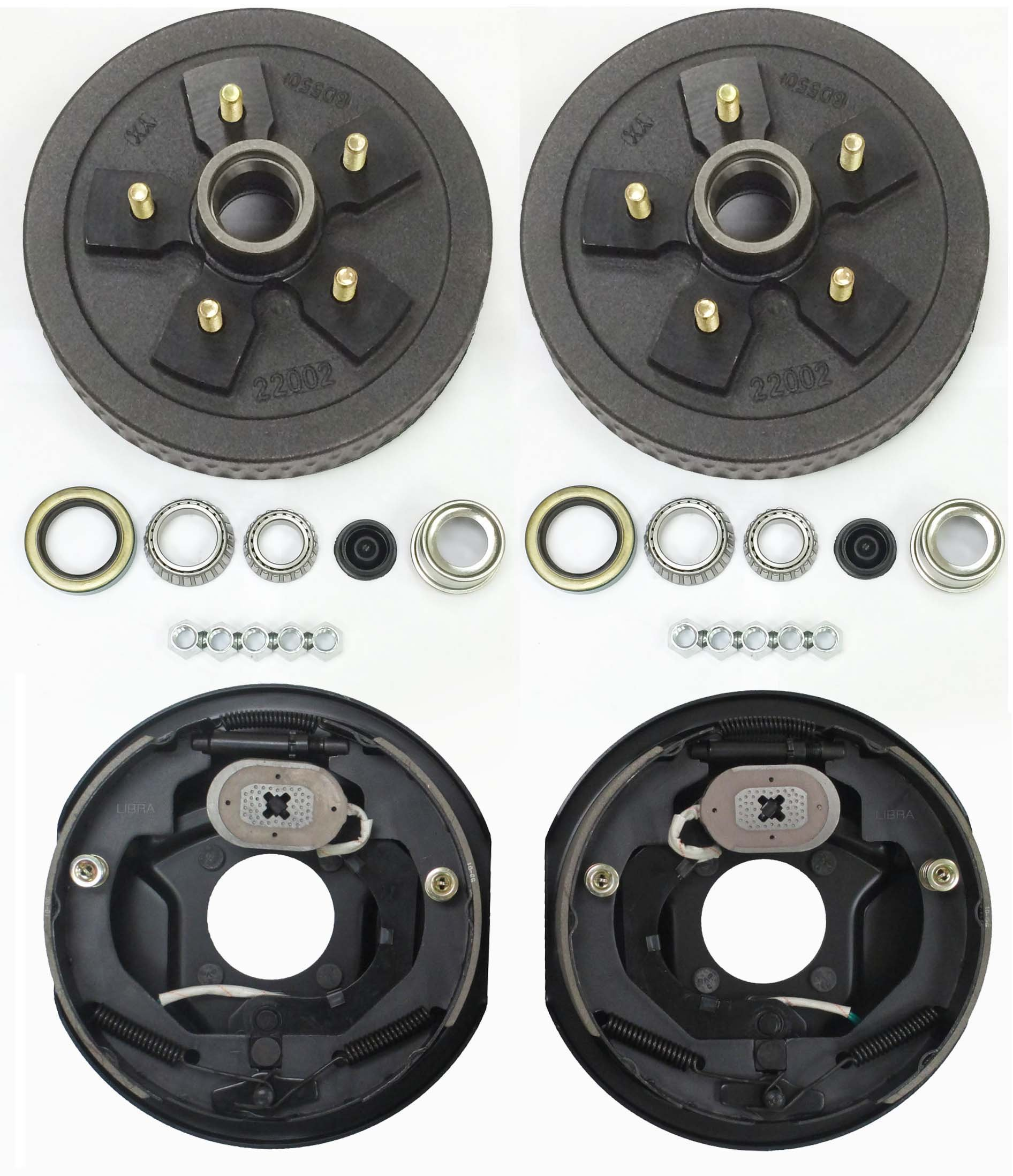 LIBRA Trailer 5 on 5'' B.C. Hub Drum Kits with 10'' x2-1/4 Electric Brakes for 3500 Lbs Axle by LIBRA