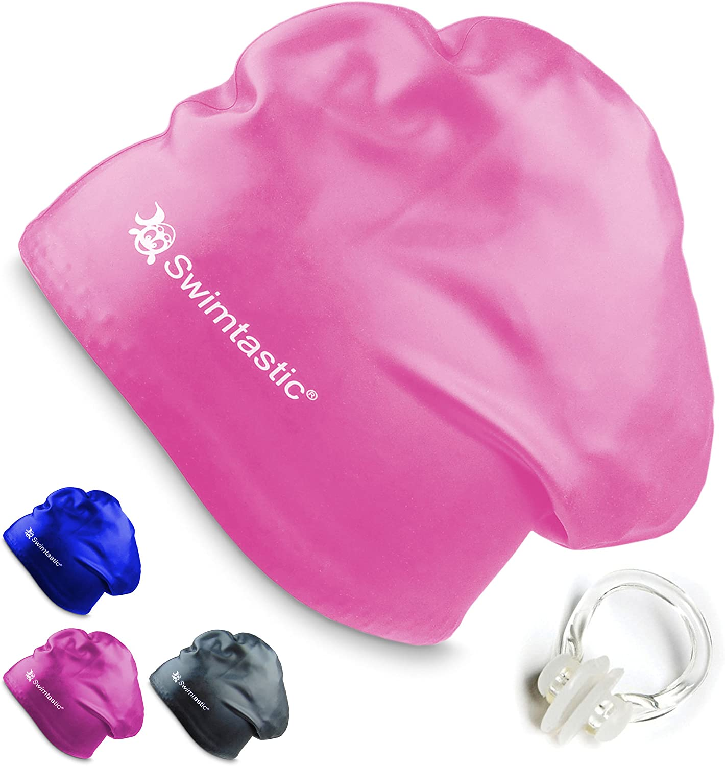 Specially Designed for Swimmers with Long Thick or Curly Hair Swimtastic/® Nose Clip Long Hair Swim Cap