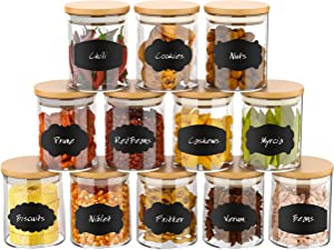 12 Set Glass Jars Set 260ml, Yohaoupty 9oz Spice Jars Food Cereal Storage Container with Bamboo Airtight Lids and Labels for Flour, Sugar, Coffee, Candy, Snack and More