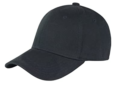 BLACK COTTON FLEX FIT FITTED CLOSED BACK BASEBALL CAP - ONE SIZE ... 460c5325508