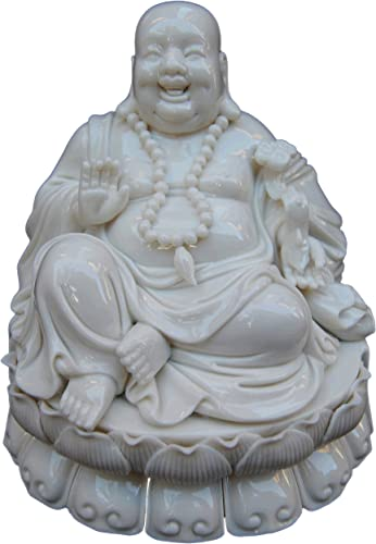 Laughing Buddha White Porcelain Figurine