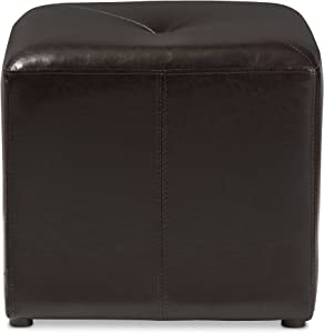 Baxton Studio ST-20-brown-ottoman Lave Cube Shaped Brown Bonded Leather Ottoman, Small