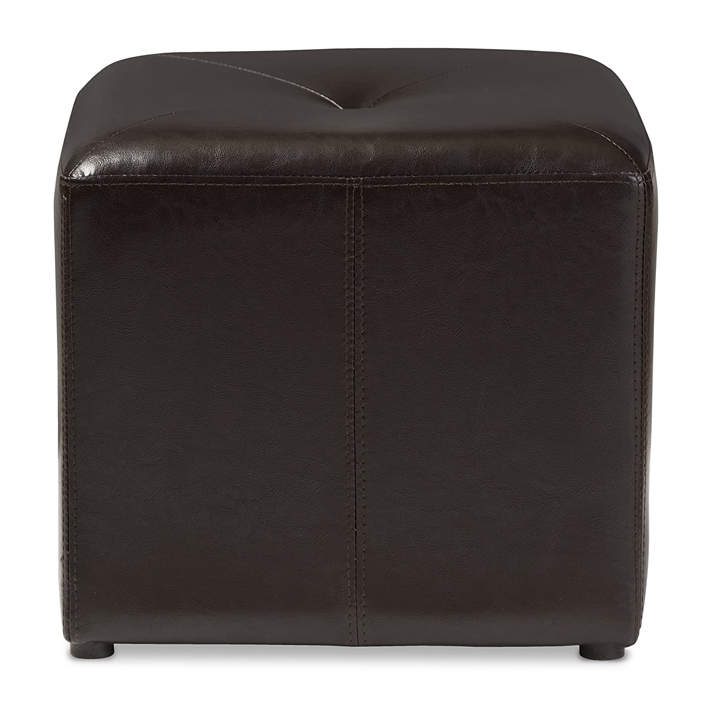 Baxton Studio Lave Cube-Shaped Brown Bonded-Leather Ottoman - Storage Ottoman Amazon.com