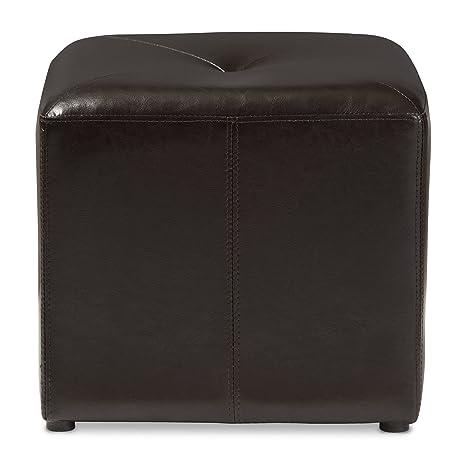 Amazoncom Baxton Studio Lave CubeShaped Brown BondedLeather