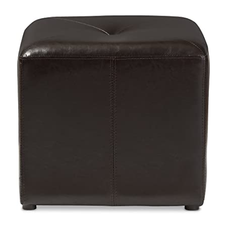 Baxton Studio ST-20-brown-ottoman Lave Cube Shaped Brown Bonded Leather Ottoman, Small,