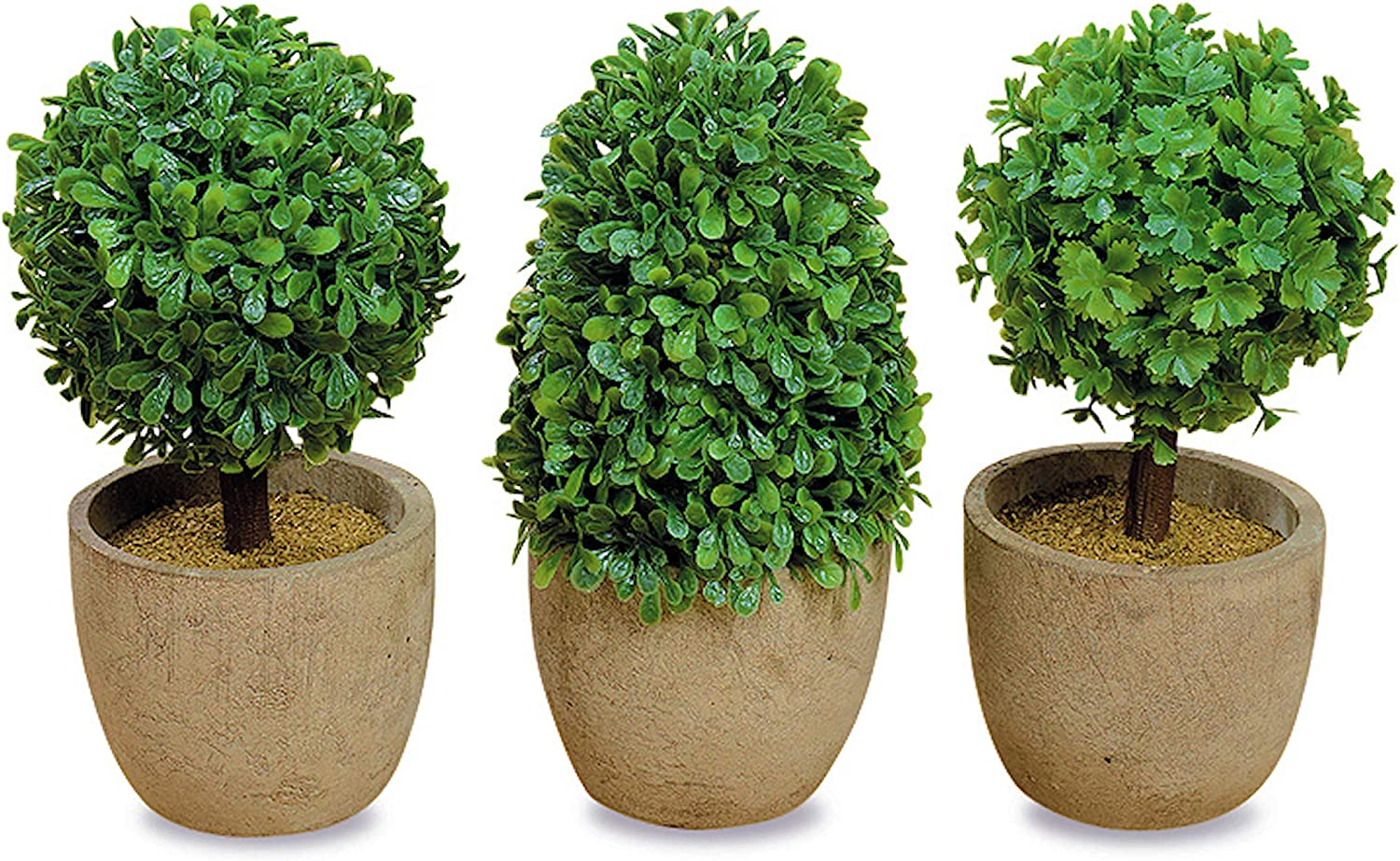 WHW Whole House Worlds Realistic Faux Boxwood Sculptural Topiary, Set of 3, Curly Leaf, Cone and Ball Tops, Gray Stone Pot, Each 5.5 Inches Tall, Mixed Materials