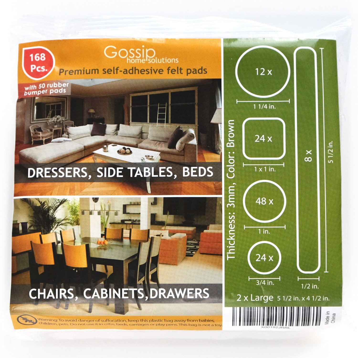 PREMIUM Furniture Pads Set 168 Pcs Value Pack Brown - Heavy Duty Adhesive Felt Pads for Furniture Feet, Assorted Sizes with Noise Dampening Rubber Bumpers. Floor Protectors for Hardwood & Laminate by Gossip (Image #3)