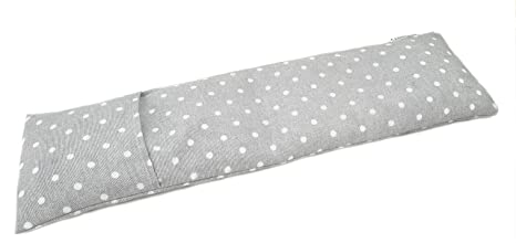 Saco térmico cervical de semillas de trigo con funda lavable 50x16cm (Topos gris)