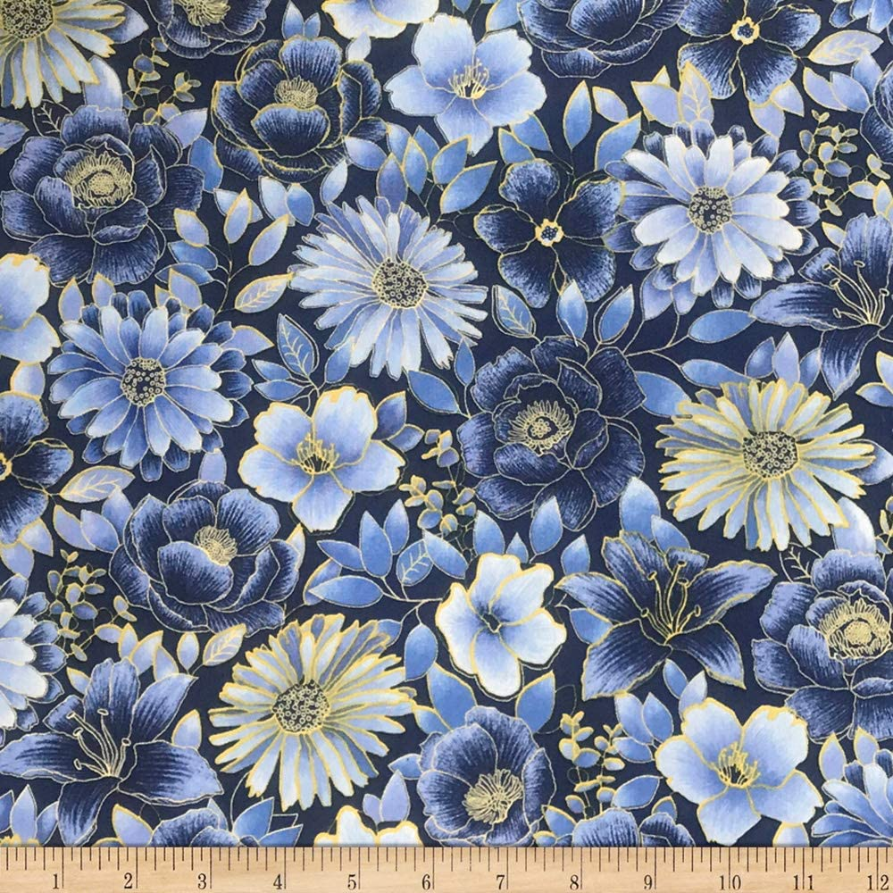 Oasis Midnight Garden Floral Blue/Yellow Quilt Fabric By The Yard