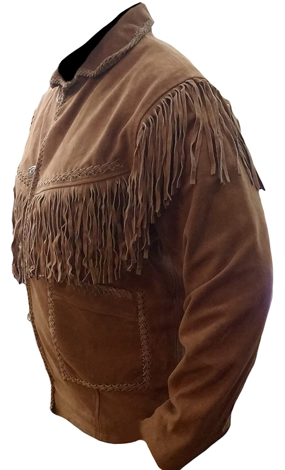 Classyak Mens Western Cowboy Fringed High Quality Suede Leather Jacket at Amazon Mens Clothing store: