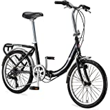 Schwinn Loop Adult Folding Bike, 20-inch Wheels, 7-Speed Drivetrain, Rear Carry Rack, Carrying Bag, Multiple Colors