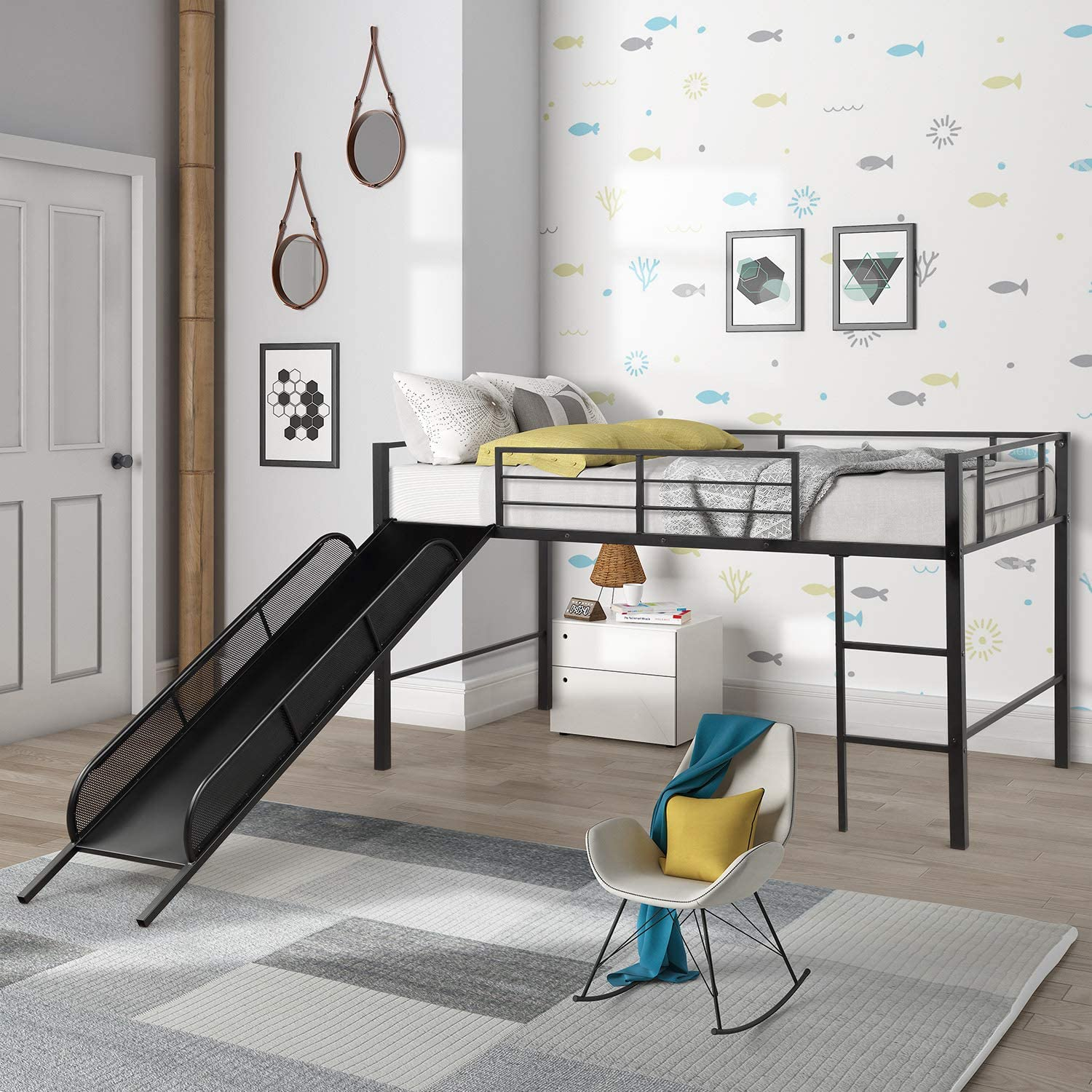 G-house Twin Metal Loft Bed with Slide Low loft Strong Slide No Box Spring Needed Bed Frame for Child Black