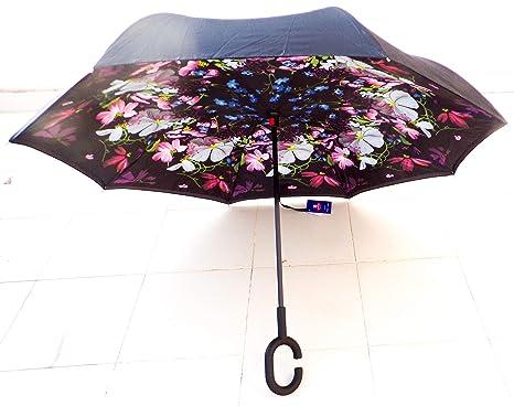 Paraguas Invertido. Paraguas Original Reversible de Colores de Mujer y Hombre Antiviento, Abre y