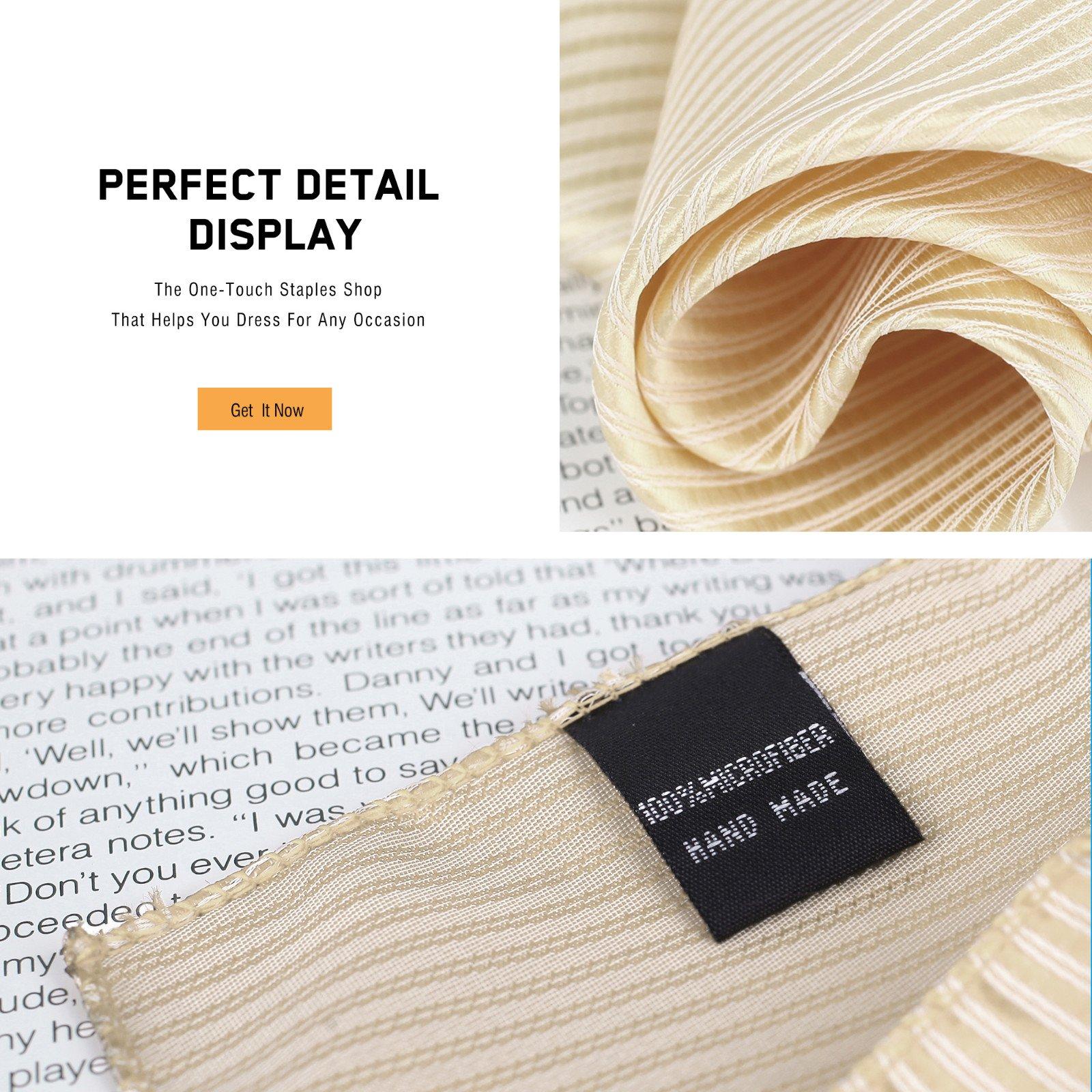 DEIA0004 Designer Stripes Microfiber Birthday Gifts for Mens Hanky Set 5 Hankerchiefs Set-Pink, Dark Orange, Grey, Beige, White By Dan Smith by Dan Smith (Image #6)